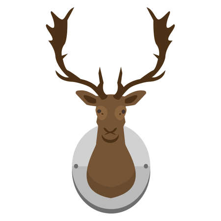 deer head mounted to wall hunting illustration