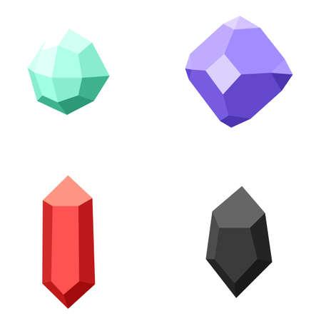 set of gemstones, colorful stones isolated on white Illustration