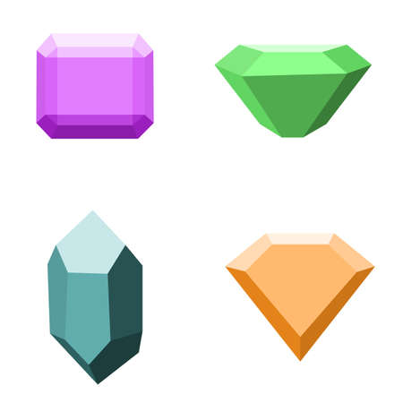 asscher cut: set of gemstones, colorful stones isolated on white Illustration