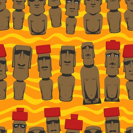rapa nui: estilo plano de dibujos animados Isla de Pascua Rapa Nui fondo transparente con Moai,