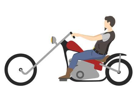 motociclista: carreras de motociclista en bicicleta aislado en el fondo blanco