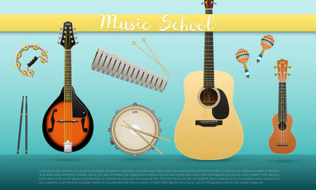 music instruments banner , music school poster for your design, festival