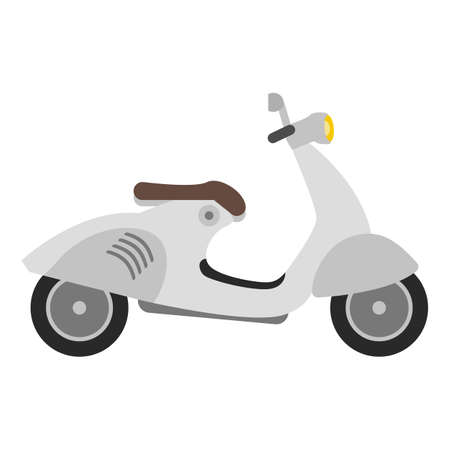 flat scooter ilustration on white background, retro