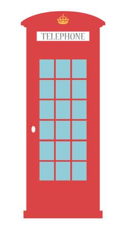 イギリス電話ボックス ロンドンの公共呼出しベクトル赤いボックス白で隔離