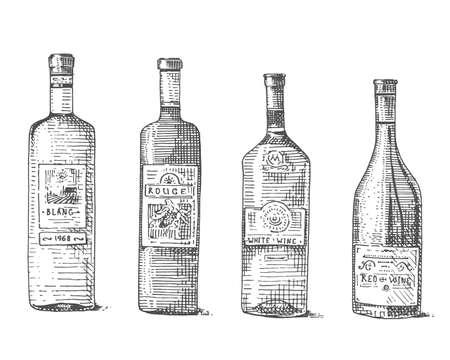 vintage: Wine bottle hand drawn engraved old looking vintage illustration Illustration