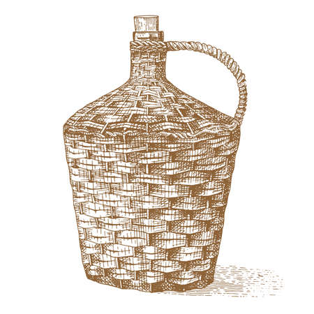 osier: Wine old traditional braided bottle hand drawn engraved old looking vintage illustration
