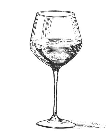 Red wine glass isolated Vintage engraved, hand drawn old Illustration