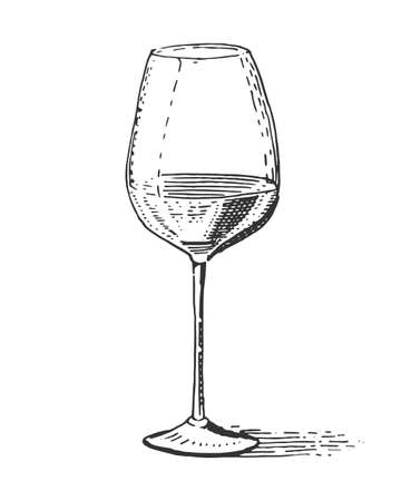 goblet: Red wine glass isolated Vintage engraved, hand drawn old Illustration