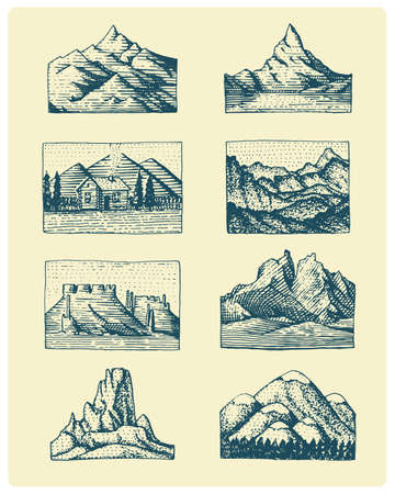 Set of 8 different badges with mountains, engraved, hand drawn or sketch style include logos for camping, hiking. vintage, old looking