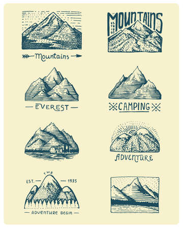 death valley: Set of 8 different badges with mountains, engraved, hand drawn or sketch style include logos for camping, hiking. vintage, old looking