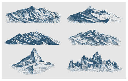 death valley: big set of mountains peaks, vintage, old looking hand drawn, sketch or engraved style, different versions for hiking, climbing.