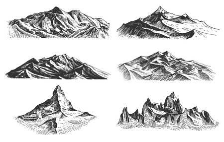 grote reeks bergen pieken, vintage, oude uitziende hand getrokken, schets of gegraveerde stijl, verschillende versies voor wandelen, klimmen. Vector Illustratie