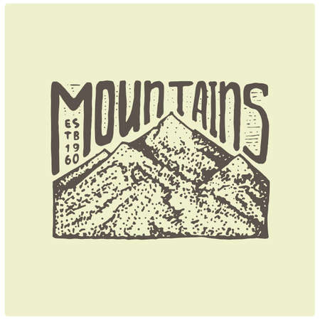 death valley: engraved vintage logo with mountains in hand drawn, sketch style, old looking retro badge for national parks and camping, alpine and hiking theme