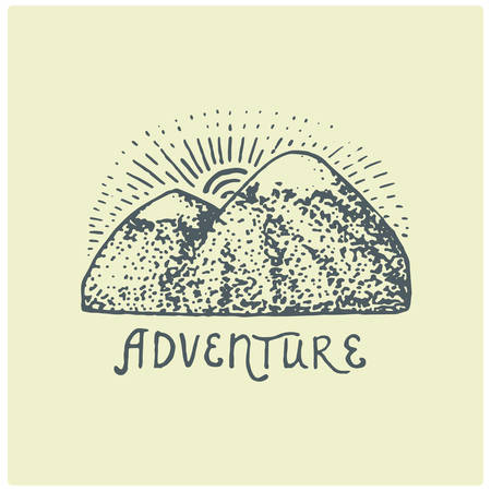 engraved vintage  with mountains in hand drawn, sketch style, old looking retro badge for national parks and camping, alpine and hiking theme