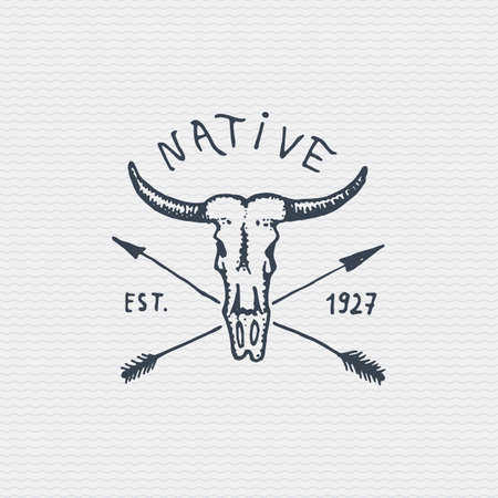 Vintage old badge, label engraved and old hand drawn style with buffalo skull. Illustration