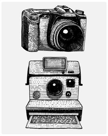 instant and modern Photo camera vintage, engraved hand drawn in sketch or wood cut style, old looking retro lens, isolated vector realistic illustration