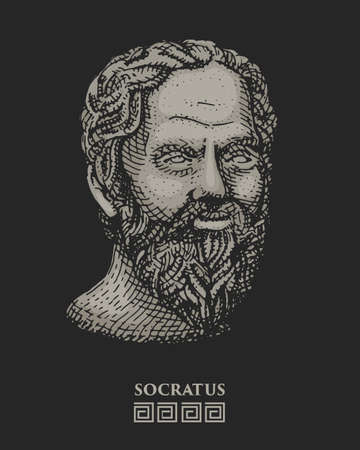 mathematician: Portrait of Socrates. Ancient greek philosopher, scientist, and thinker vintage, engraved hand drawn in sketch or wood cut style, old looking retro