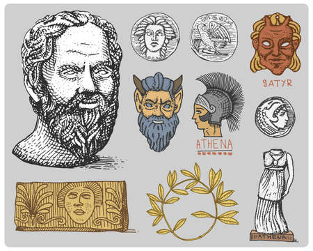 ancient civilization: ancient Greece, antique symbols Socrates head, laurel wreath, athena statue and satyr face with coins vintage, engraved hand drawn in sketch or wood cut style, old looking retro