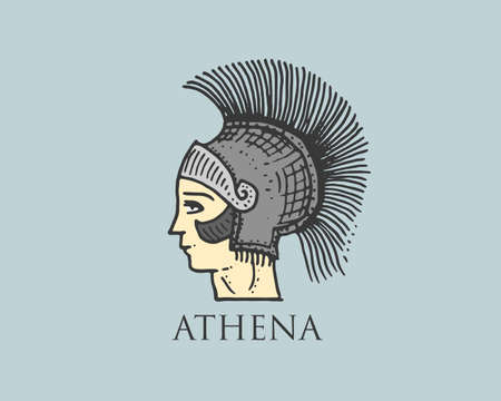 Godness Athena logo ancient Greece, antique symbol vintage, engraved hand drawn in sketch or wood cut style, old looking retro Illustration