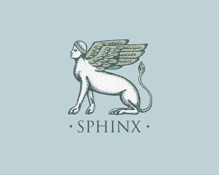 Sphinx logo ancient Greece, antique symbol vintage, engraved hand drawn in sketch or wood cut style, old looking retro.