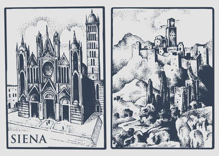 Two vintage postcards with landscapes of Tuskany, Italy. Siena Cathedral and castle in the hill vintage lookiing engraved, hand drawn illustration, old.