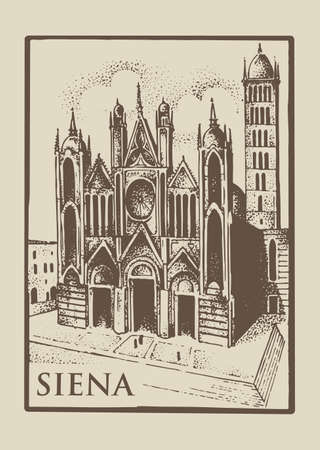 Gotical church in Siena, Tuskany, Italy old looking vintage hand drawn engraved illustration with building and symbol of town cathedral duomo di siena Illustration