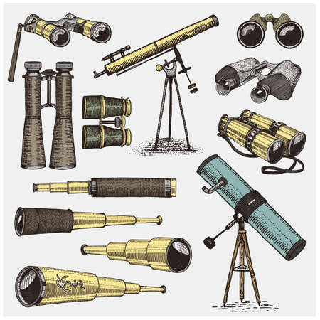 quadrant: Set of astronomical instruments, telescopes oculars and binoculars, quadrant, sextant engraved in vintage hand drawn or wood cut style , old sketch glasses Illustration