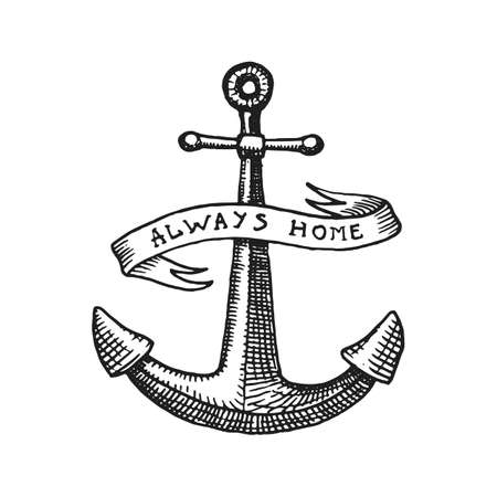 drawn metal: Anchor engraved vintage in old hand drawn or tattoo style, drawing for marine, aquatic or nautical theme, wood cut, blue logo