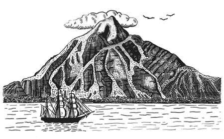 Oceano o mare con nave, vele accanto al vulcano o montagna, illustrazione disegnata a mano paesaggio inciso pirata Vettoriali