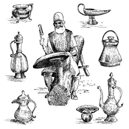 minter or coiner at work, old arabic man doing cooper engraving on vase or dish, plate hand drawn illustrtation. profession ancient