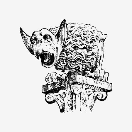 include: Gargoyle Chimera of Notre-Dame de Paris, engraved, hand drawn vector illustration with gothic guardians include architectual elements, vintage statue medieval