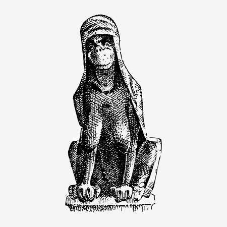 Gargoyle Chimera of Notre-Dame de Paris, engraved, hand drawn vector illustration with gothic guardians include architectual elements, vintage statue medieval