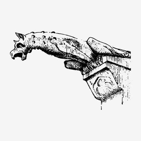 Gargoyle Chimera van Notre-Dame de Paris, gegraveerd, hand getrokken vectorillustratie met gotische voogden onder meer architectual elementen, vintage standbeeld middeleeuwse