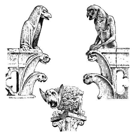 Ensemble de Gargouilles La Chimère de Notre-Dame de Paris, gravée, illustration vectorielle dessinée à la main avec des gardiens gothiques, comprend des éléments architecturaux, une statue vintage médiévale Vecteurs