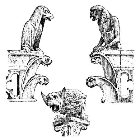 set of Gargoyles Chimera of Notre-Dame de Paris, engraved, hand drawn vector illustration with gothic guardians include architectual elements, vintage statue medieval