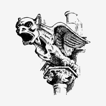 Gargouille Chimère de Notre-Dame de Paris, gravée, illustration vectorielle dessinée à la main avec des gardiens gothiques, éléments architecturaux, statue vintage médiévale