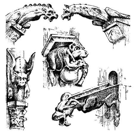 ensemble de gargouilles Chimère de Notre-Dame de Paris, gravé, illustration vectorielle dessinés à la main avec des gardiens gothiques comprennent des éléments architecturaux, vintage statue médiévale Vecteurs