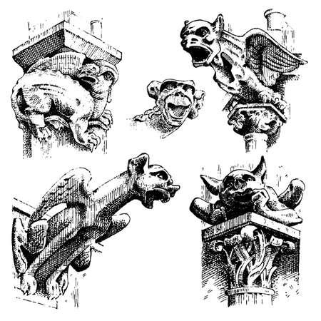 Set van Gargoyles Chimera van Notre-Dame de Paris, gegraveerd, hand getekende vectorillustratie met gotische beschermers omvatten architectonische elementen, vintage standbeeld middeleeuwse