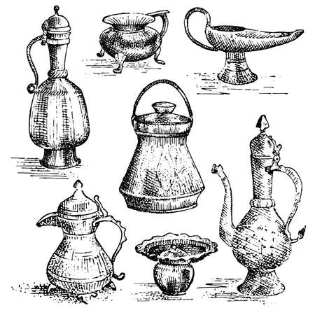 cooper: Ancient cooper vases, jug set , greek or arabic looking. hand drawn, engravded old sketch illustration with dishes collection Illustration