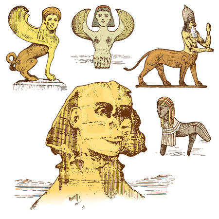 ancient civilisations: egyptian sphinx and other fantastic creatures, mythology symbols of ancient civilisations, centaurus