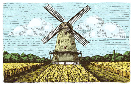 Windmill landscape in vintage, retro hand drawn or engraved style, can be use for bakery logo, wheat field with old building Illustration
