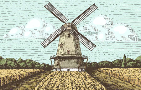 wind mills: Windmill landscape in vintage, retro hand drawn or engraved style, can be use for bakery logo, wheat field with old building Illustration