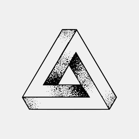 Conjunto de formas imposibles y otras formas de tatuaje, puntowork, blackwork todo hecho de puntos. Geométrica, estrellas sagradas estrellas y cubos