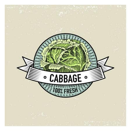 Kohl-Weinlesesatz Aufkleber, Embleme oder Logo für vegetarisches Lebensmittel, Gemüse Hand gezeichnet oder graviert. Amerikanischer Art des Retro- Bauernhofes