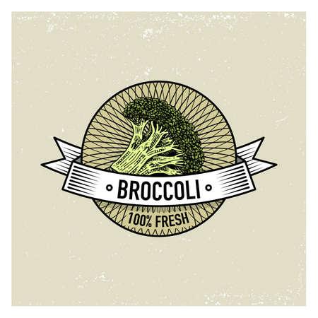Brócoli Conjunto vintage de etiquetas, emblemas o logotipo para alimentos vegeterianos, vegetales dibujados a mano o grabados. Estilo americano retro de la granja