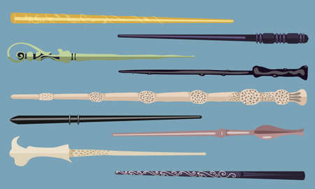 Set of 9 different magic wands for witches and wizards. vintage magic sticks for witchcraft schools and fantasy games
