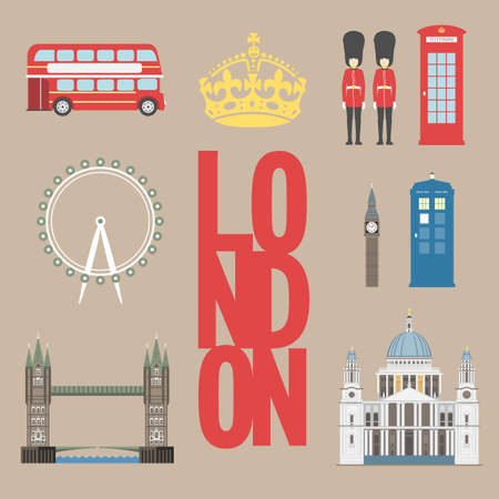 bigben: London travel info graphic. Vector illustration, Big Ben, eye, tower bridge and double decker bus, Police box, St Pauls Cathedral, queens guards, telephone.