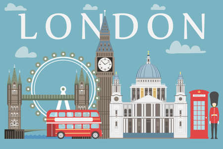 London travel info graphic. Vector illustration, Big Ben, eye, tower bridge and double decker bus, Police box, St Pauls Cathedral, queens guards, telephone Stock Photo