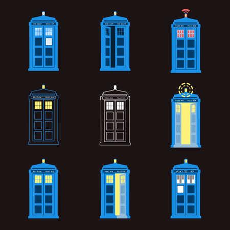 Set of British Police Boxes. London public call. Illustration