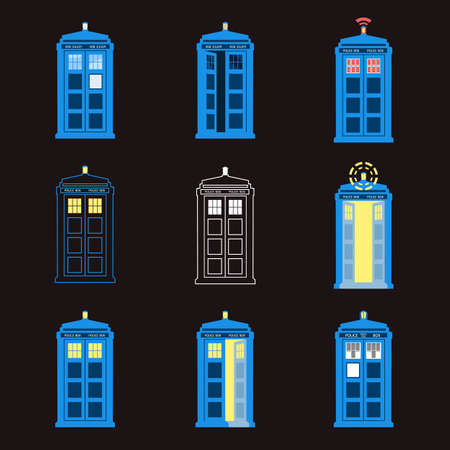 doctor who: Set of British Police Boxes. London public call. Illustration